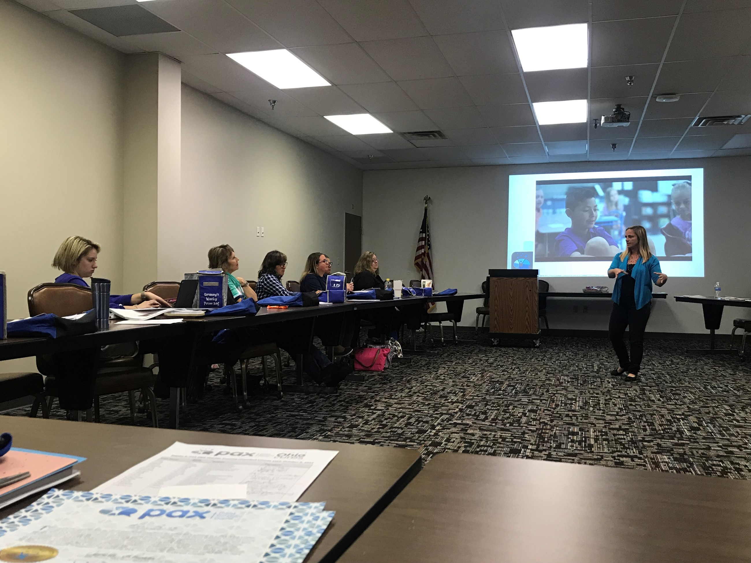 Trumbull County teachers participated in preventative intervention training that they will use in their classrooms. The training was held in the TCESC conference room.
