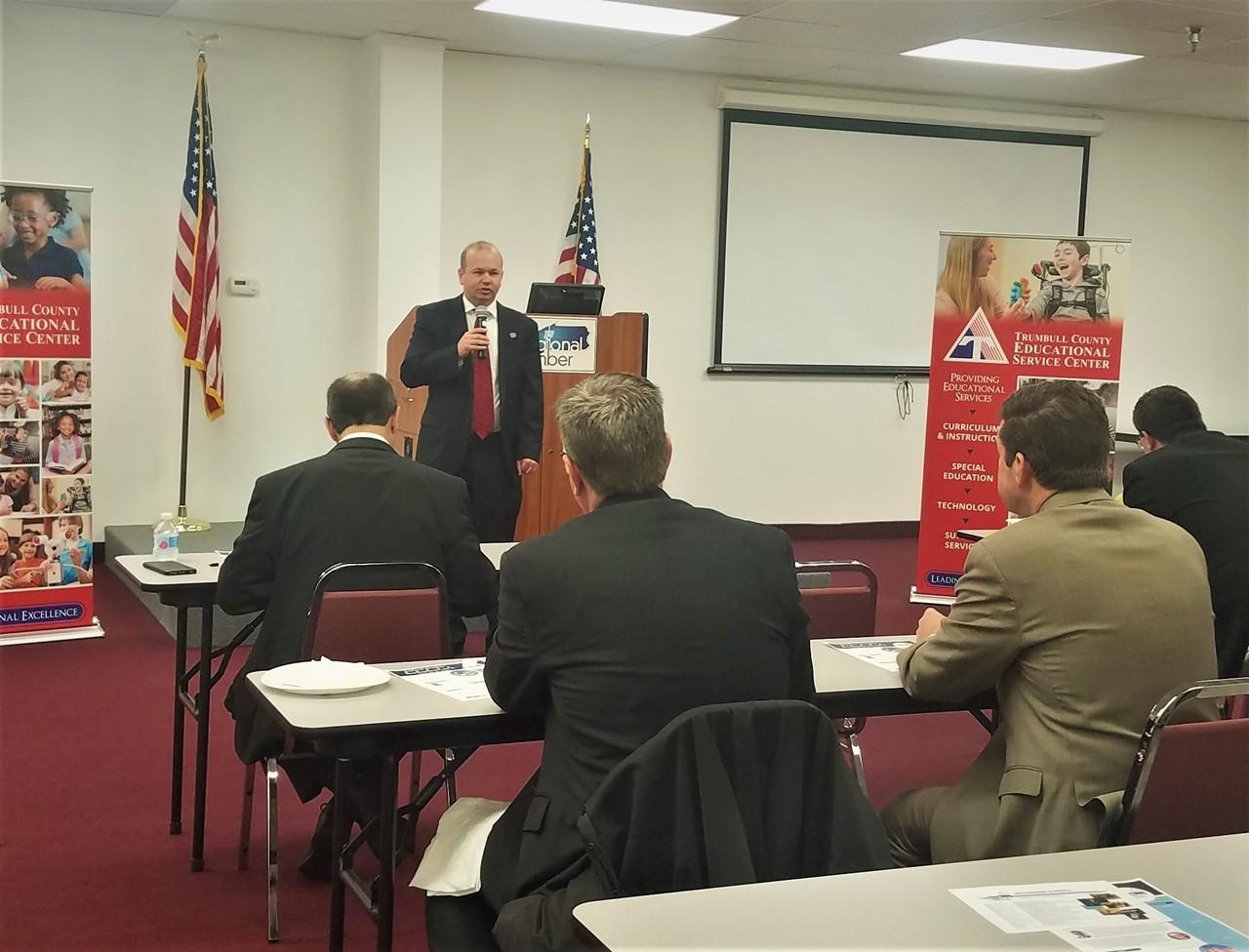 Ohio Rep. Andrew Brenner, center, discusses educational legislation & initiatives at the Regional Chamber's Lattes & Legislators event at TCESC.