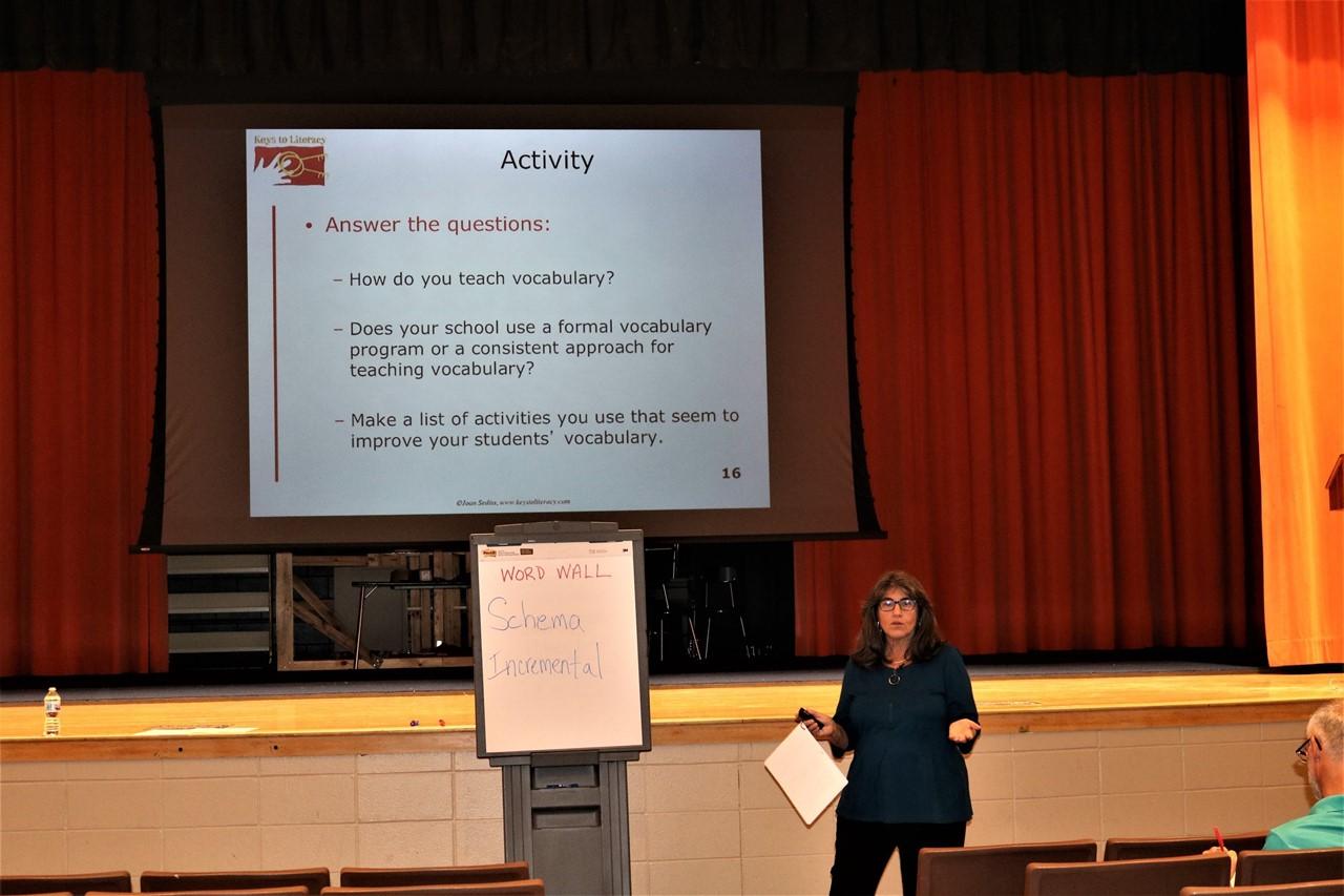 Keys to Literacy founder/creator Joan Sedita talks vocabulary with Trumbull County Educators,