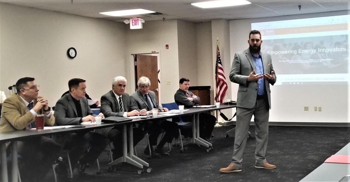 Rick Stockberger of Tech Belt Energy Innovative Center addresses Trumbull County Superintendents
