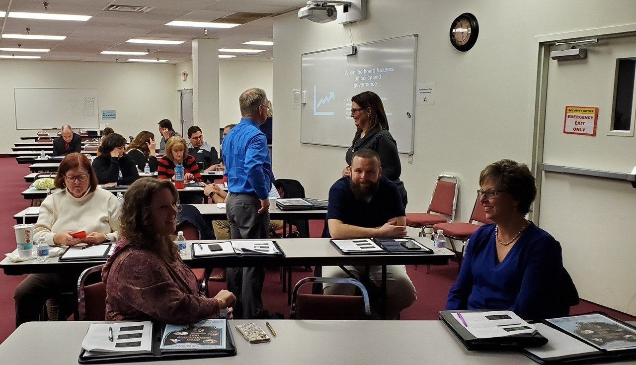 New school board members gather for a workshop interaction and discussion at TCESC.