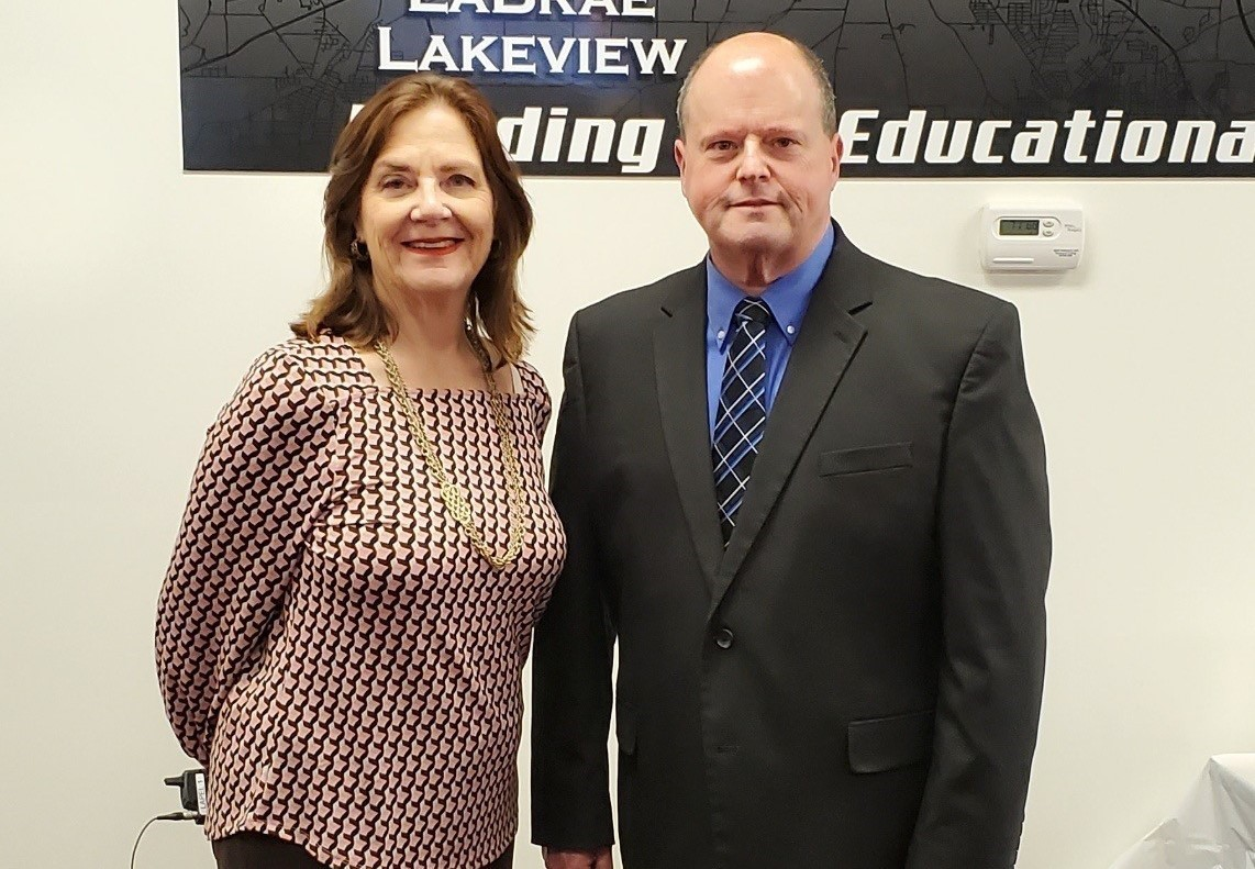 Cheryl Ryan, director, Board Management Services for Ohio School Boards Association, shown here with TCESC Superintendent Michael Hanshaw, attends the TCESC school board member workshop.