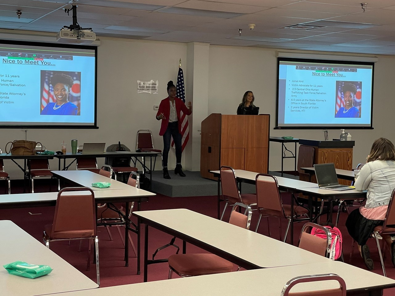 TCESC C&I Supervisor Denise Holloway welcomes representatives from the Ohio Attorney General's Office to the ESC for a presentation on human trafficking in schools.