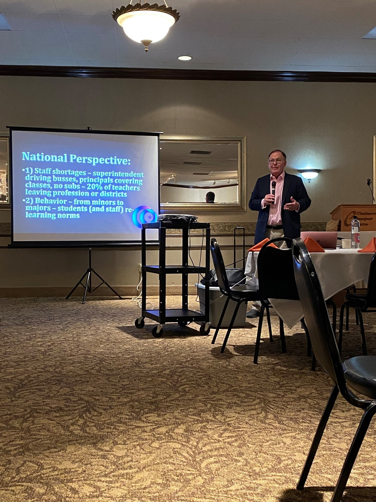 Dr. Douglas Reeves presents to State Support Team Region five at Ciminero's Banquet Centre in Niles.