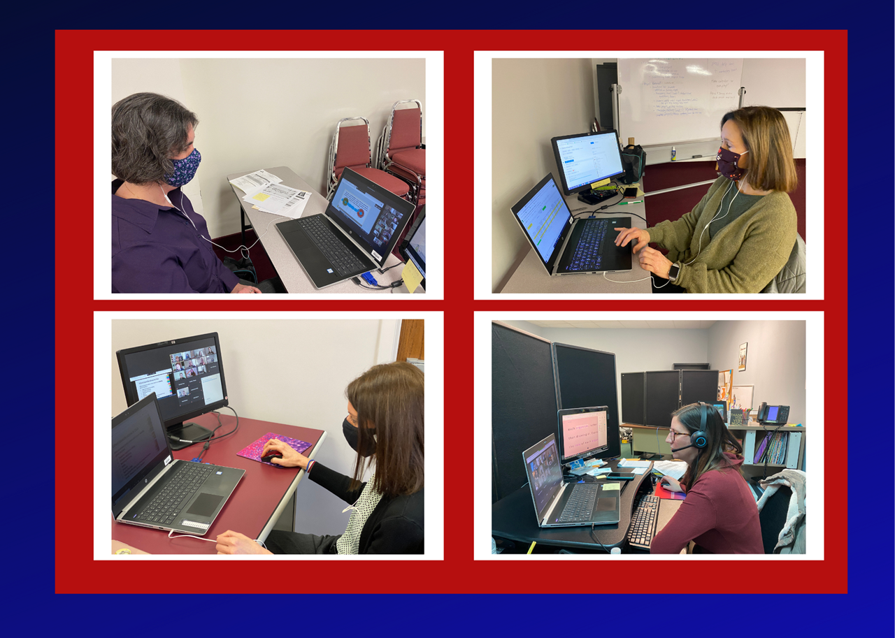 TCESC Supervisors, clockwise from top right, Dana Butto, Jenny Pancake, Amy Rossler & Jaclyn Rausch, help facilitate an online training for YSU teacher candidates preparing for their first days in their classrooms.