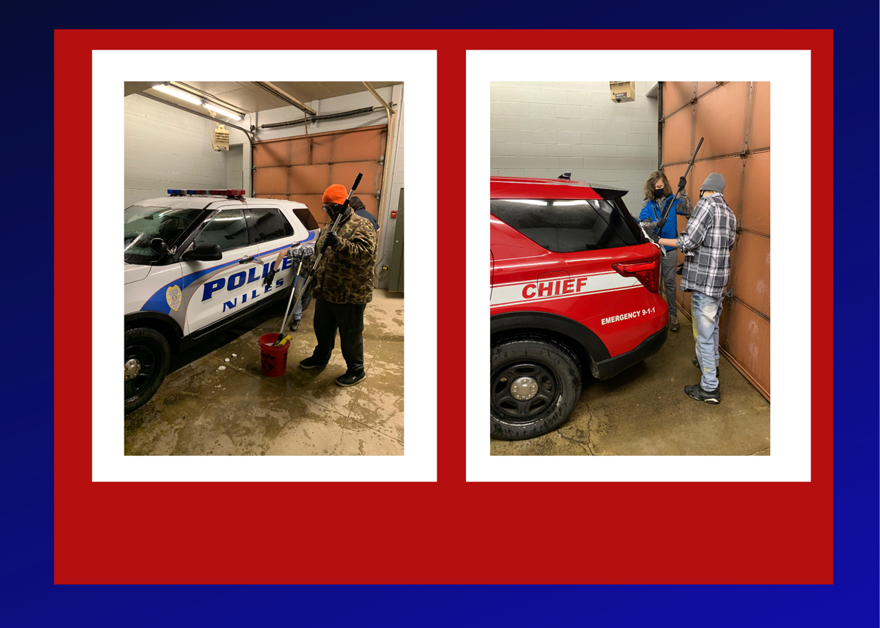 Students in the Trumbull County ESC / Niles Vocational Program clean emergency vehicles as part of their ongoing effort to work with the City of Niles to acquire job skills they can use in the workforce.