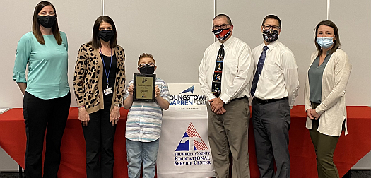 Trumbull County Spell-Off Winner Luca Dennis with the TCESC C&I Team