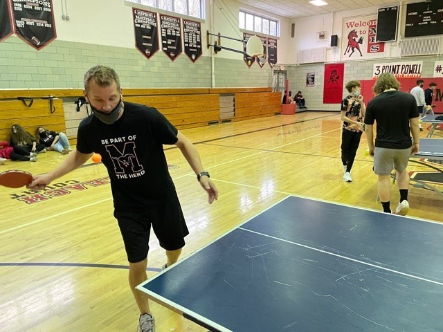 Mr. Haynie, PE Teacher, holds a Ping Pong tournament in Gym class to teach students how to compete in a positive and healthy environment by incorporating those SEL and PBIS strategies.