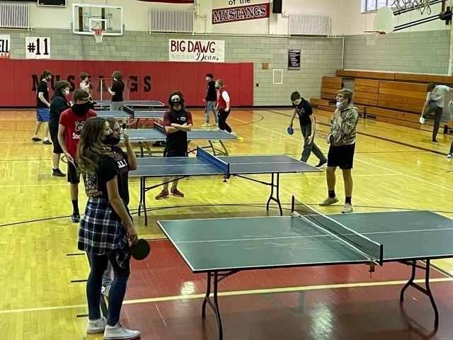Mathews teacher Mr. Haynie, holds a Ping Pong tournament in Gym class to teach students how to compete in a positive and healthy environment by incorporating those SEL and PBIS strategies.