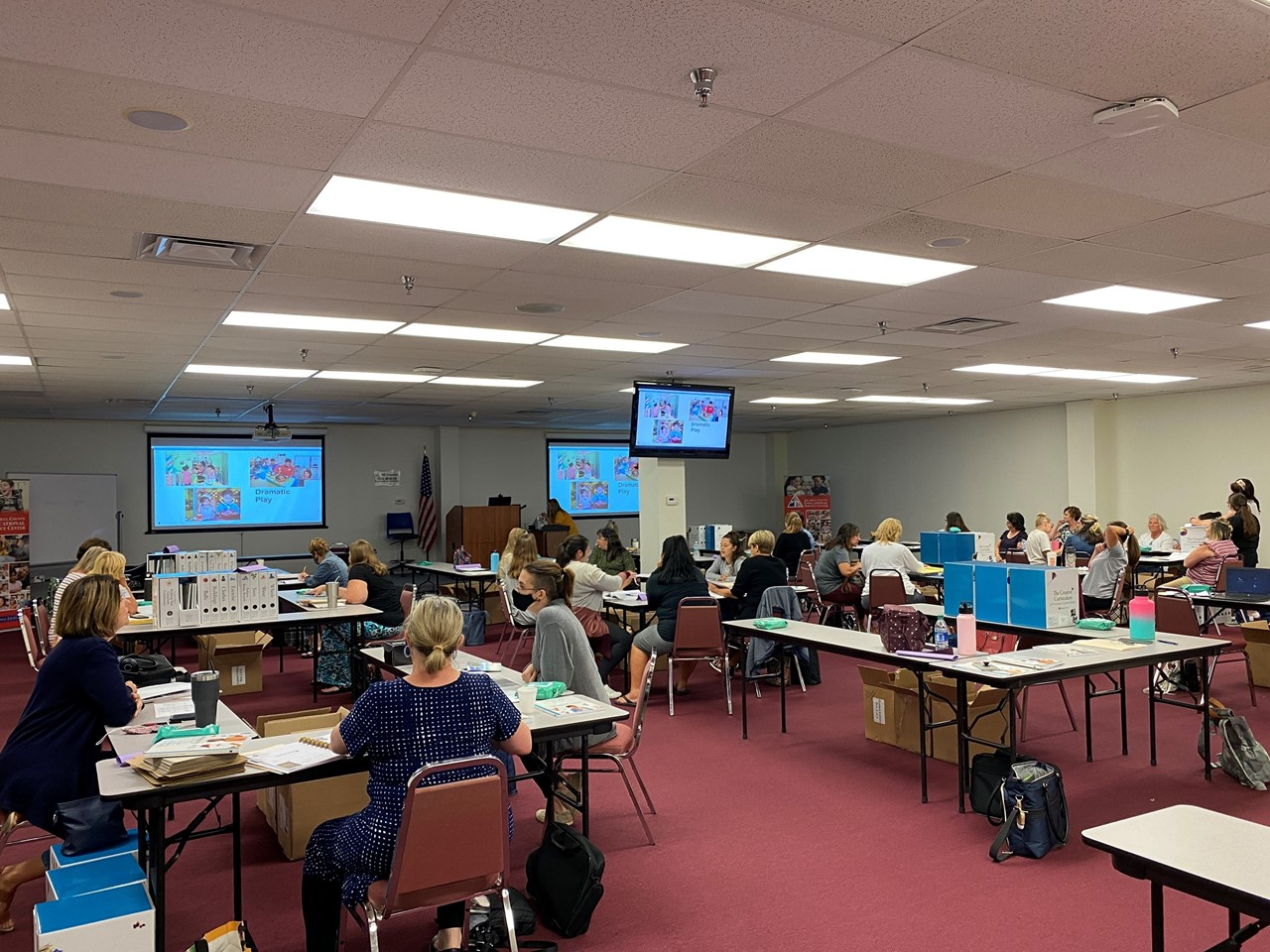 Preschool Teachers focus on Creative Curriculum during a Professional Learning Session at the TCESC's Central Office.