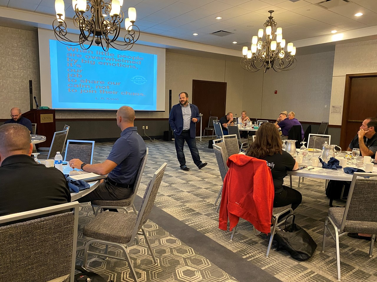 """Keynote R. Keeth Matheny discusses """"Finding & Sharing Calm & Chaos"""" at the 2021 Trumbull County Administrators' Conference."""