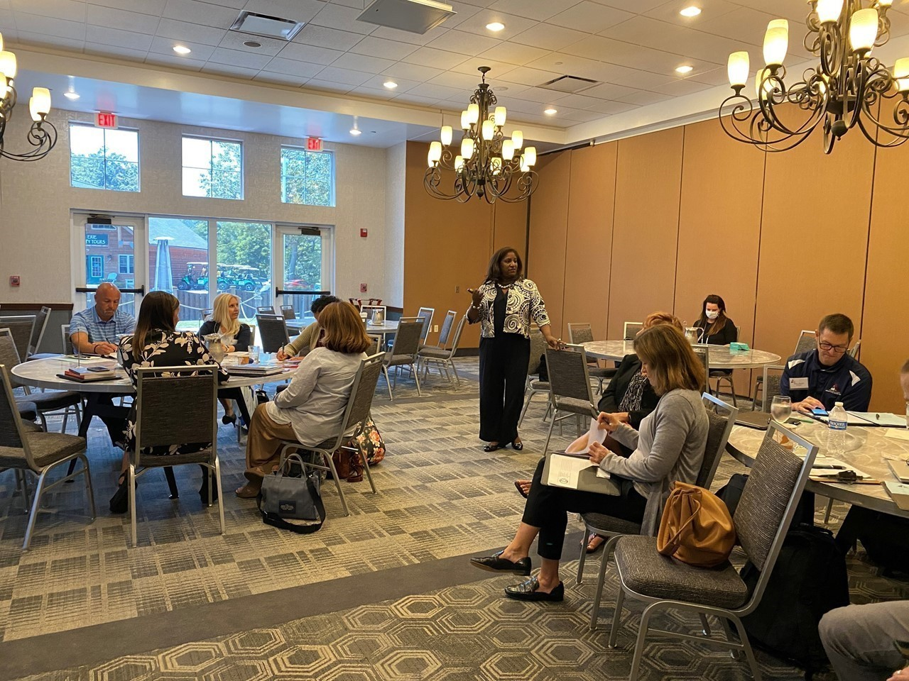 Keynote Dr. Sonja Hollins-Alexander meets with our Curriculum & Instruction Specialists during a break-out session at the Trumbull County Administrators' Conference.